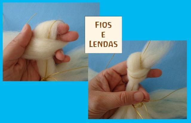 7-  em cada uma das 5 partes, faça um nó, com a lã e o fio, aproximadamente a 5cm do centro. O nó precisa ser leve, sem torcer a lã.