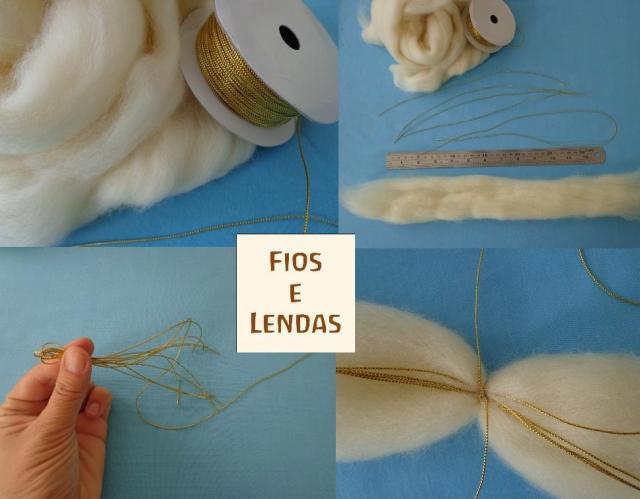 Material: cordão dourado fino e lã de carneiro. 1, corte o fio dourado em 5 pedaços: 4 de 30 cm e 1 de 60 cm. 2. separe com as mãos (puxando) um pedaço de lã de aproximadamente 30 cm. Use uma régua para referência de volume. 3. com um dos cordões de 30 cm, amarre a lã, no ponto central prendendo os outros fios. O fio de 60 cm deve ficar com toda a sobra apenas de um lado. Vire a peça e abra a lã, separe em 5 partes e arrume cada ponta cuidadosamente